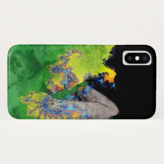 Capa Para iPhone X VIBRAÇÕES DA MATÉRIA/mulher em Fractals verdes