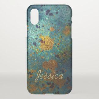 Capa Para iPhone X Videira elegante do azul e do ouro