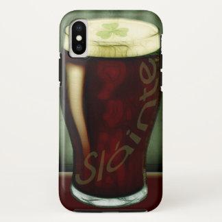 Capa Para iPhone X Vidro irlandês engraçado da cerveja de malte