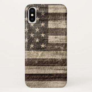 Capa Para iPhone X Vintage da bandeira americana