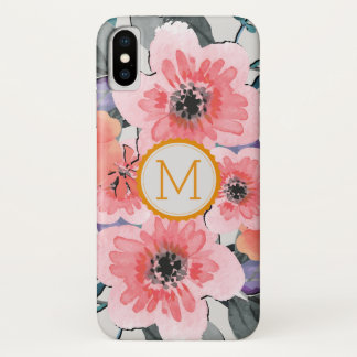 Capa Para iPhone X Vintage elegante #31 floral do monograma