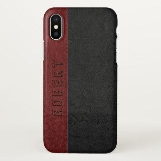 Capa Para iPhone X Vintage preto & vermelho masculino couro costurado