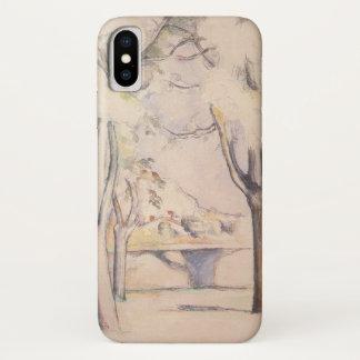 Capa Para iPhone X Vista através das árvores por Paul Cezanne, arte