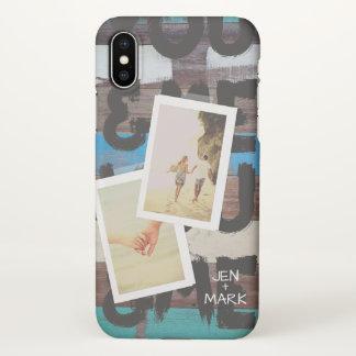 Capa Para iPhone X Você & mim. Colagem da foto das memórias. Madeira