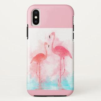 Capa Para iPhone X Watercolour do flamingo