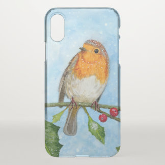 Capa Para iPhone X Watercolour do pássaro do pisco de peito vermelho