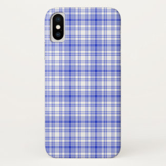 Capa Para iPhone X Xadrez branca azul 2
