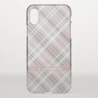 Capa Para iPhone X xadrez diagonal cor-de-rosa do branco cinzento