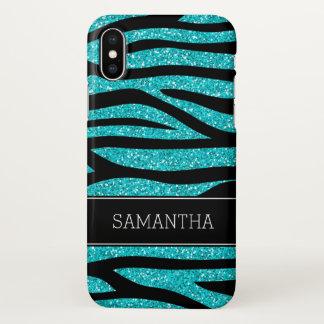 Capa Para iPhone X Zebra azul do brilho do falso da cerceta
