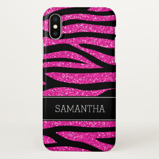 Capa Para iPhone X Zebra do brilho do falso do rosa quente