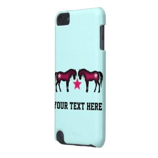 Capa Para iPod Touch 5G Cavalos cor-de-rosa bonitos no azul