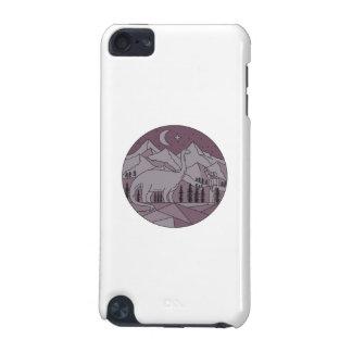 Capa Para iPod Touch 5G Círculo mono L da lua da montanha do Brontosaurus