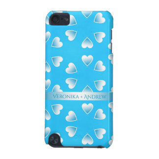 Capa Para iPod Touch 5G Corações azuis pequenos bonito. Adicione seu