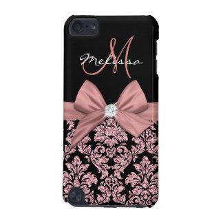 Capa Para iPod Touch 5G Damasco cor-de-rosa do preto do brilho do ouro,