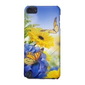 Capa Para iPod Touch 5G Flores amarelas azuis com borboletas