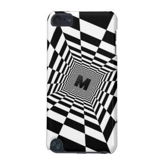 Capa Para iPod Touch 5G Ilusão, monograma ou inicial visual preta & branca