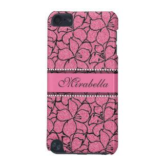 Capa Para iPod Touch 5G Lírios cor-de-rosa luxúrias com esboço preto,