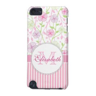 Capa Para iPod Touch 5G Listras do rosa Pastel, do roxo, das flores, as