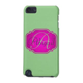 Capa Para iPod Touch 5G Monograma - cor-de-rosa e verde customizáveis