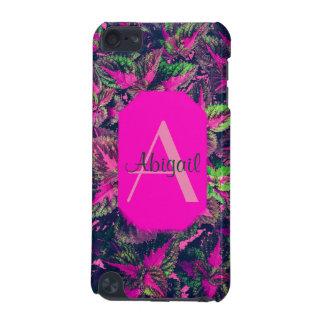 Capa Para iPod Touch 5G Monograma - folha cor-de-rosa Camo