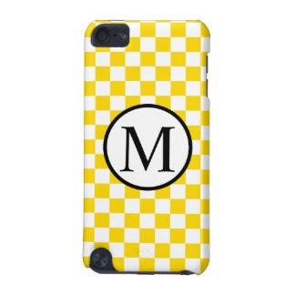 Capa Para iPod Touch 5G Monograma simples com tabuleiro de damas amarelo