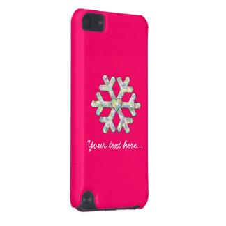 Capa Para iPod Touch 5G Natal do rosa do floco de neve do rosa quente