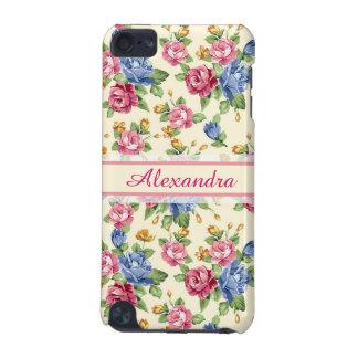 Capa Para iPod Touch 5G Rosa romântico Pastel da flor, vermelho, nome azul