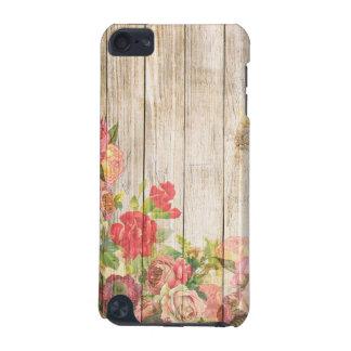 Capa Para iPod Touch 5G Rosas românticos rústicos do vintage de madeira