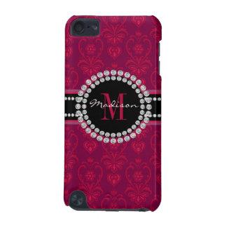 Capa Para iPod Touch 5G Vermelho carmesim, damasco magenta, nome e
