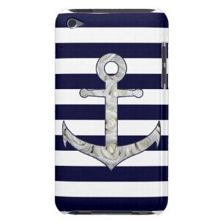 Capa Para iPod Touch Âncora náutica do rosa branco