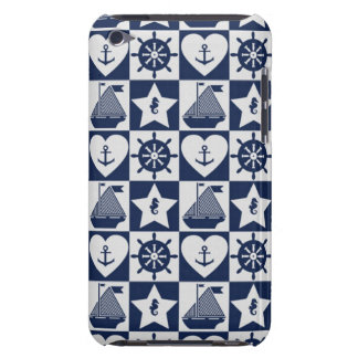 Capa Para iPod Touch Branco náutico dos azuis marinhos checkered