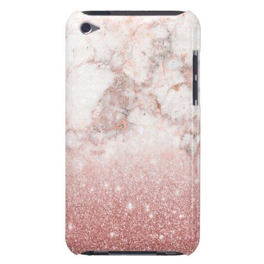 Capa Para iPod Touch Brilho cor-de-rosa Ombre de mármore branco do ouro