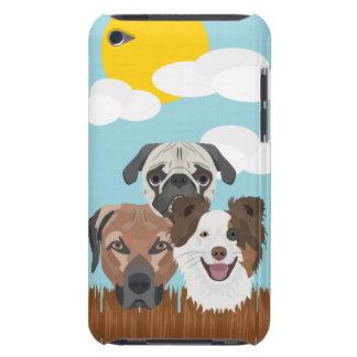 Capa Para iPod Touch Cães afortunados da ilustração em uma cerca de