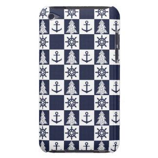 Capa Para iPod Touch Checkered branco azul náutico