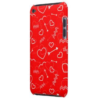 Capa Para iPod Touch Coração e seta brancos vermelhos do amor dos