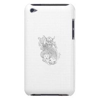 Capa Para iPod Touch Desenho preto e branco da cabeça da gueixa da