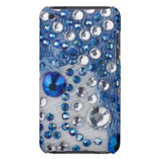 Capa Para iPod Touch Design azul do teste padrão de Jean dos diamantes