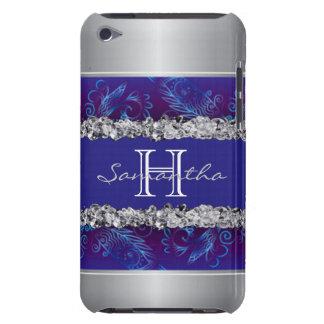 Capa Para iPod Touch Design floral branco de prata do azul dos