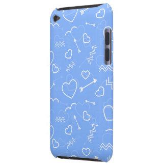 Capa Para iPod Touch Doodles azuis pálido do coração e da seta do amor