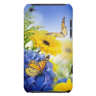 Capa Para iPod Touch Flores amarelas azuis com borboletas