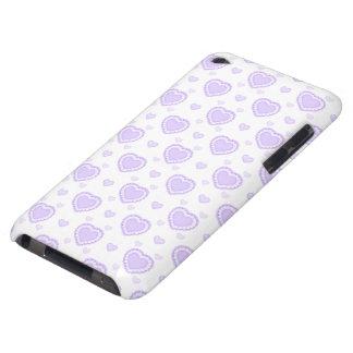 Capa Para iPod Touch Lilac romântico & corações brancos