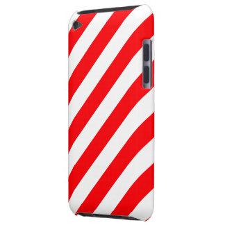 Capa Para iPod Touch Listras vermelhas e brancas do Natal de doces do