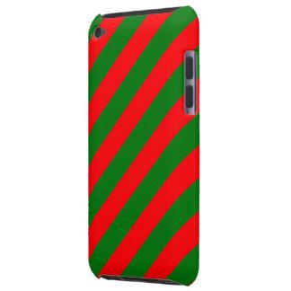 Capa Para iPod Touch Listras vermelhas e verdes de Candycane do Natal