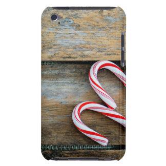 Capa Para iPod Touch Madeira rústica com os bastões de doces do Natal