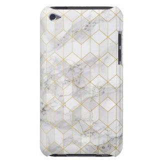 Capa Para iPod Touch Mármore branco com teste padrão do cubo do ouro