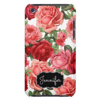 Capa Para iPod Touch Nome floral dos rosas rosas vermelha elegantes