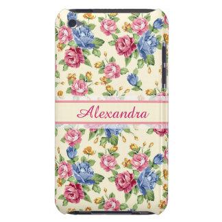 Capa Para iPod Touch Rosa romântico Pastel da flor, vermelho, nome azul