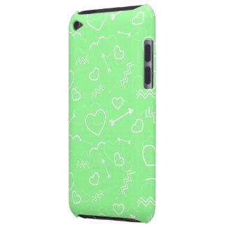 Capa Para iPod Touch Seta verde e branca da hortelã dos namorados do