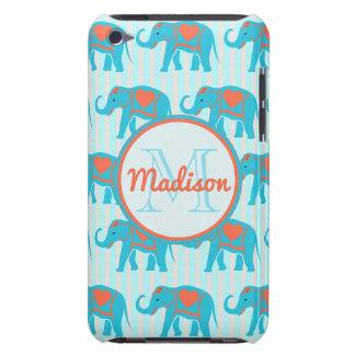 Capa Para iPod Touch Turquesa da cerceta, elefantes azuis, nome das