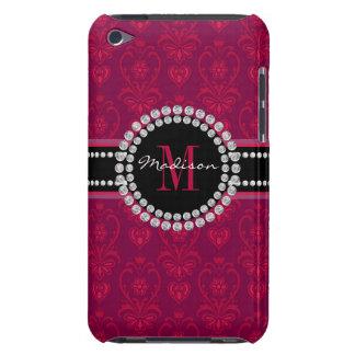Capa Para iPod Touch Vermelho carmesim, damasco magenta, nome e